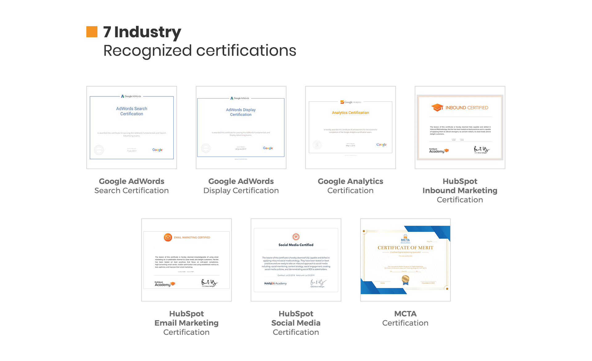 Masters Program in Digital Marketing Course Certificates Image
