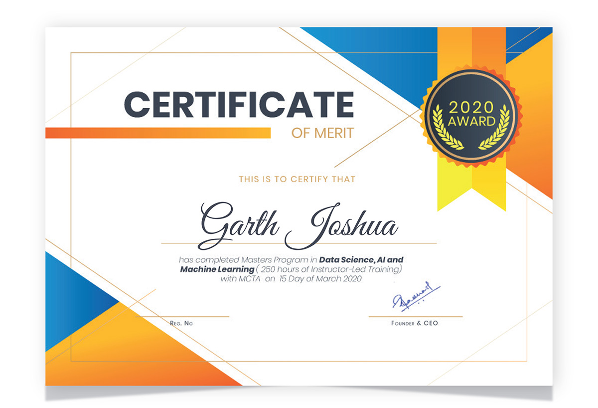Masters Program in Data Science Course Certificates Image